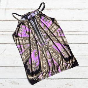 INC Black/Purple Print/Embellished  Tank Style Top